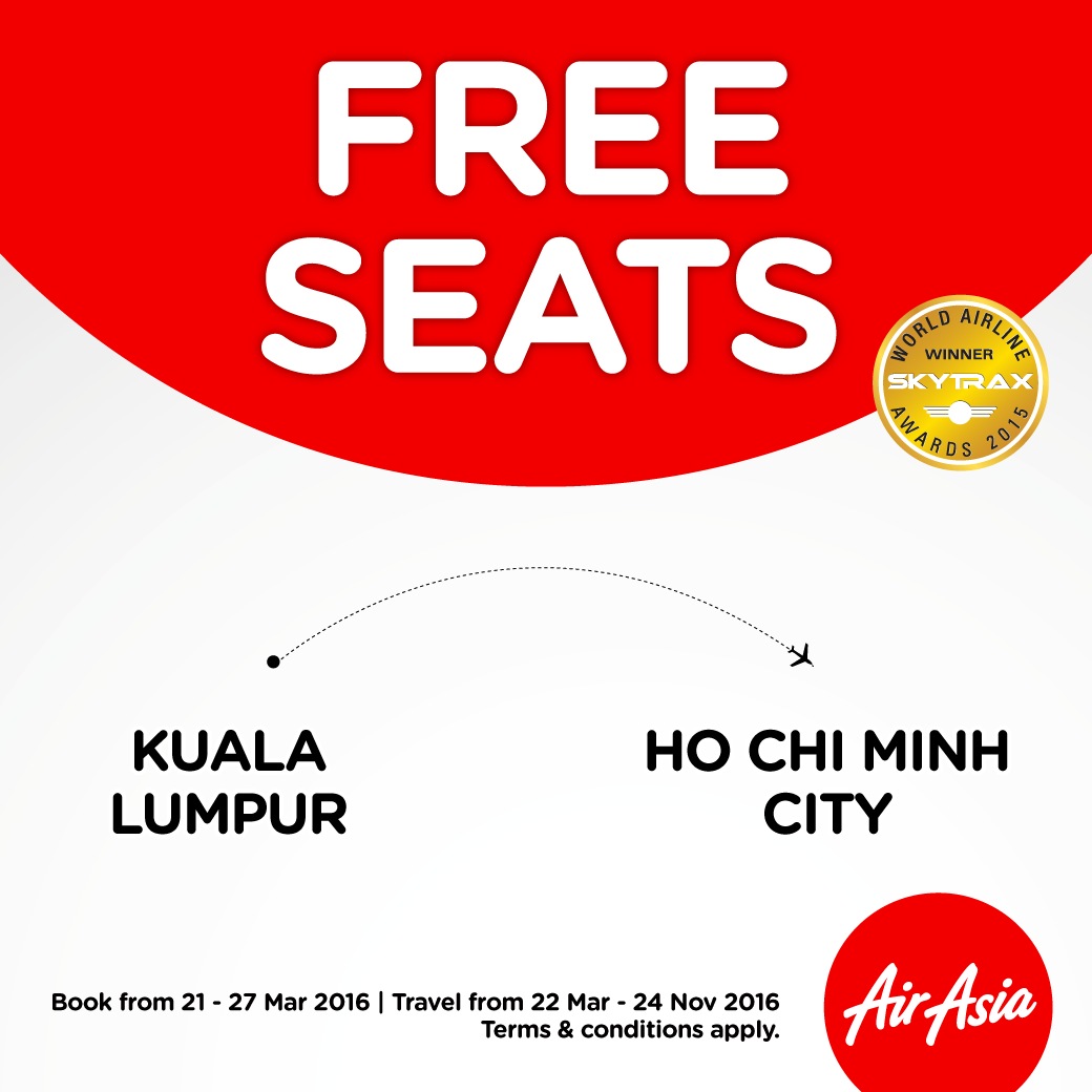 AirAsia Free Seats Promo to Ho Chi Minh