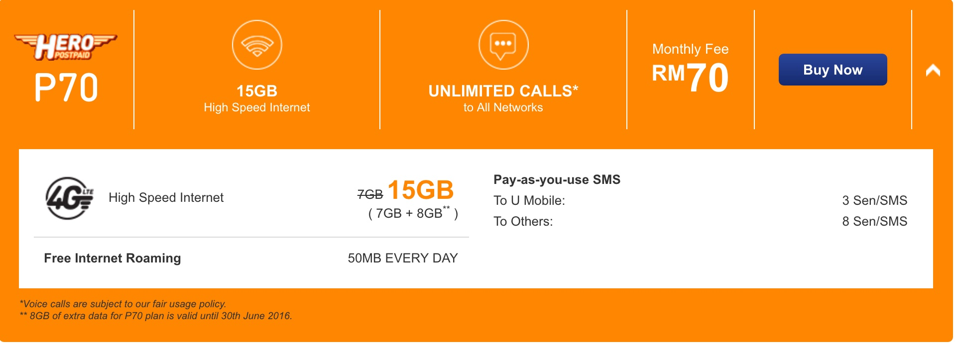 U Mobile - Offers 15GB of data at RM70