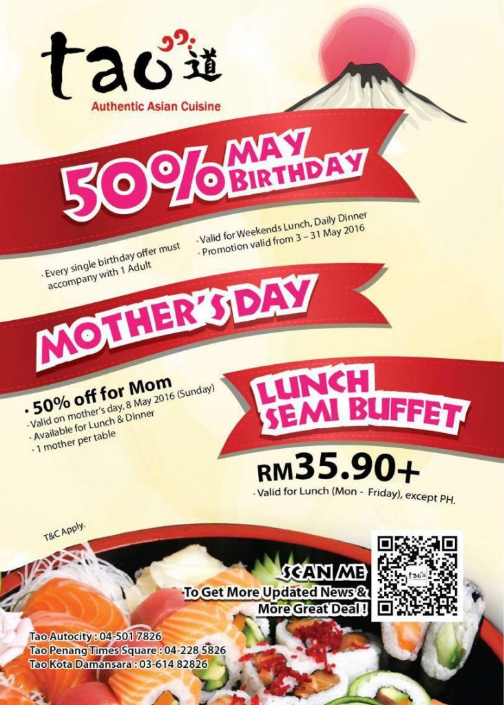Tao Buffet 50% off For Birthday & Mother's Day