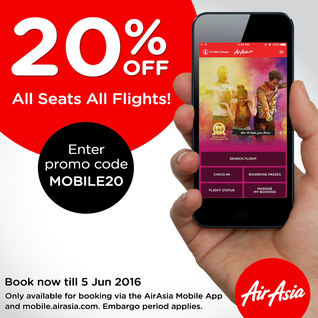 airasia mobile promo 20 off all seats flights. Black Bedroom Furniture Sets. Home Design Ideas