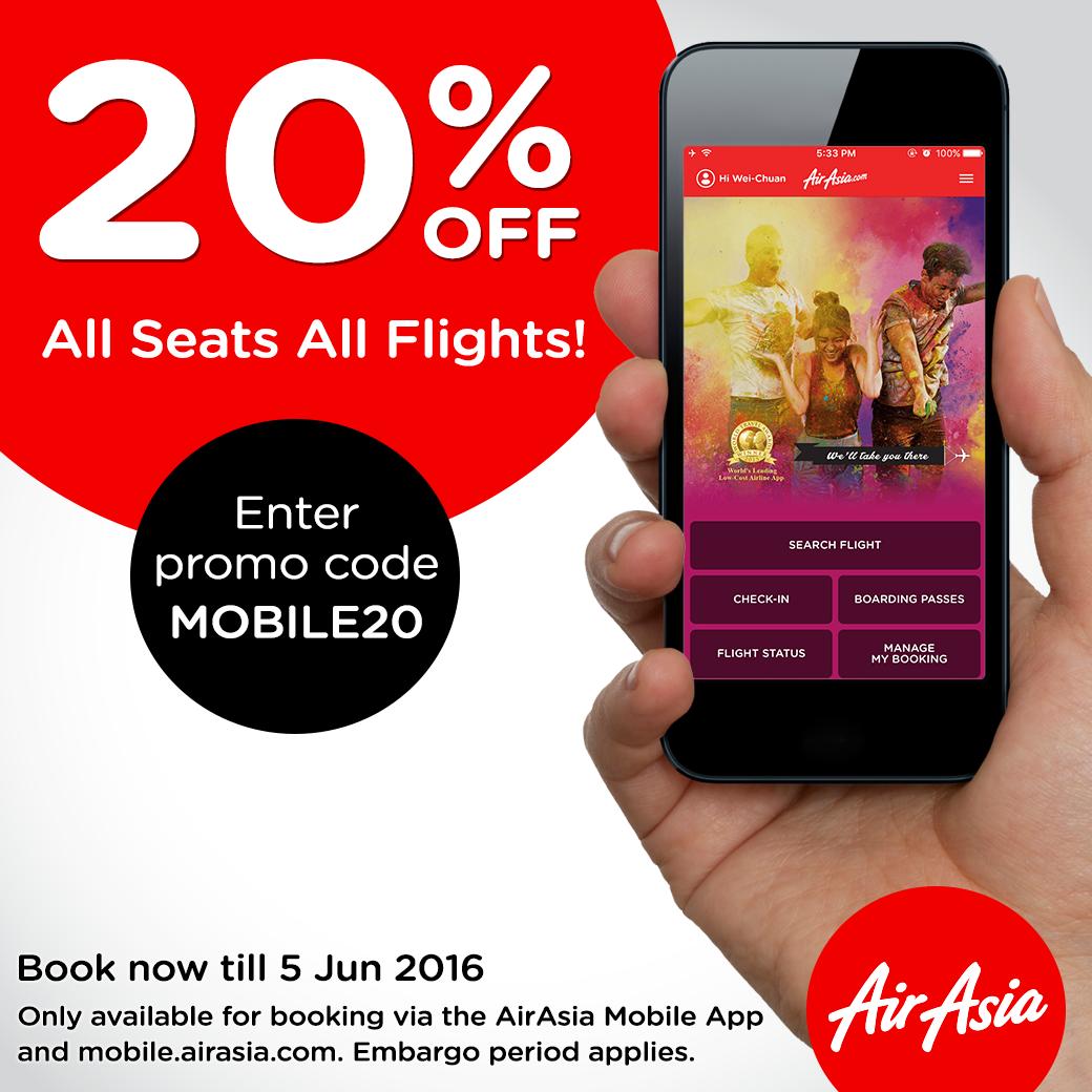 airasia mobile promo 20 off all seats flights. Black Bedroom Furniture Sets. Home Design Ideas