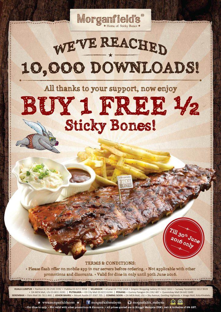 Morganfield's Sticky Bones - Buy 1 FREE 1/2 Promotion