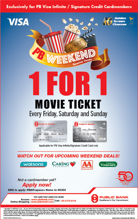 Public Bank - GSC 1 for 1 Movie Ticket