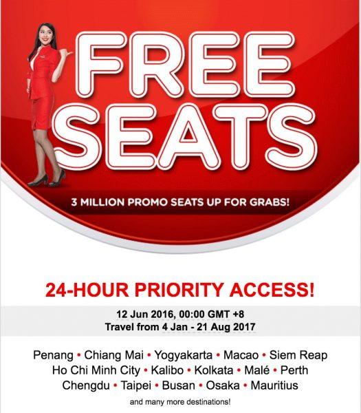 AirAsia FREE SEAT Promotion Fares 2016 / 2017