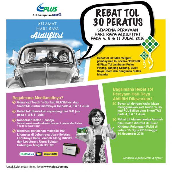 PLUS 30% Highway Toll Rebate for Hari Raya