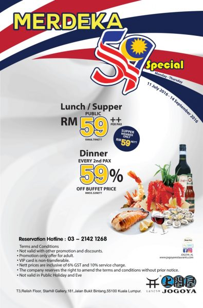 Jogoya Buffet Merdeka Special Promotion