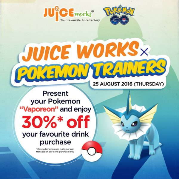 Juice Works FREE Drink and Promotion for Pokemon Trainer