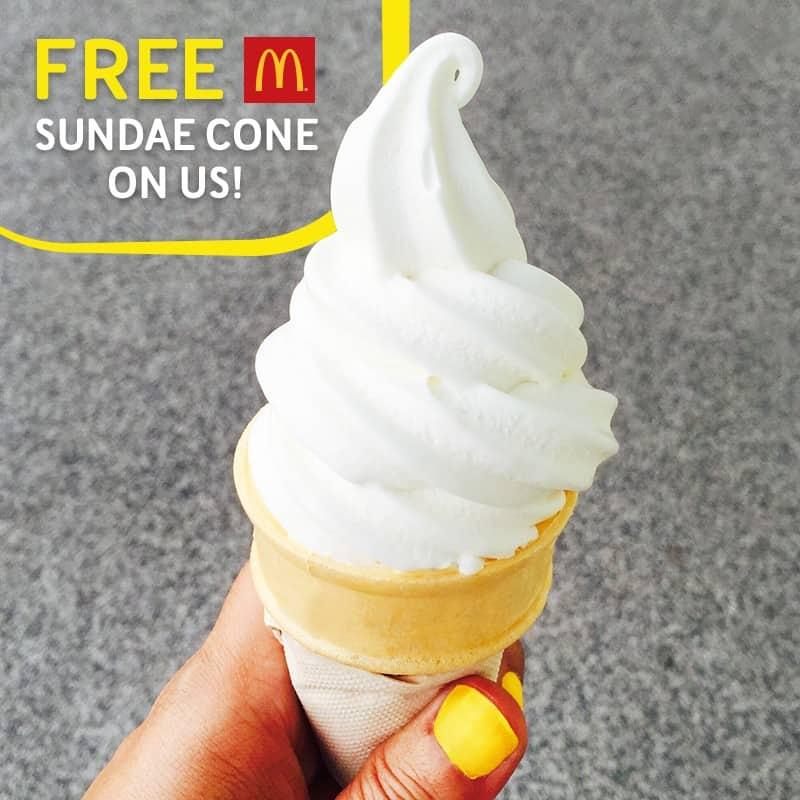 FREE McDonald's Vanilla Sundae Cone Giveaway