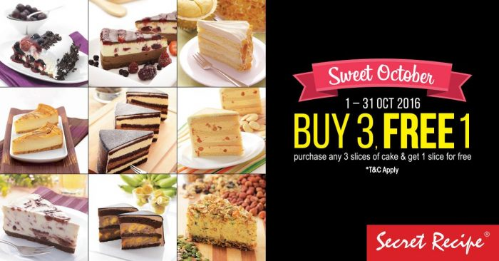 Secret Recipe BUY 3 FREE 1 Promotion 2016