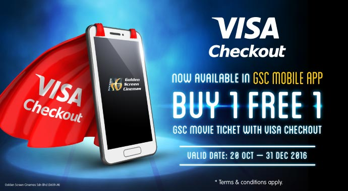 GSC BUY 1 FREE 1 movie ticket with Visa Checkout