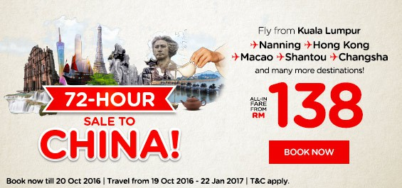 AirAsia 72 hours sale to China