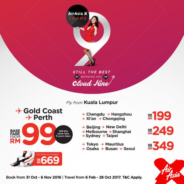 AirAsia X RM99 promotion