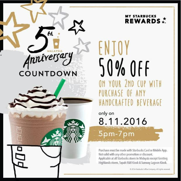 Starbucks 50% Promotion - 5th Anniversary Countdown