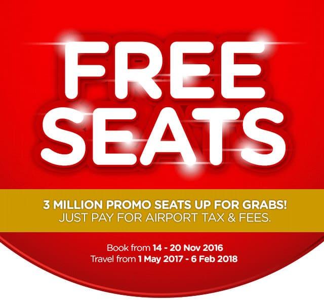 AirAsia Free Seat Promotion 2017/2018