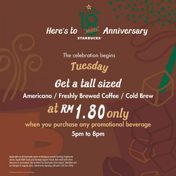 Starbucks RM1.80 Tuesday Promotion