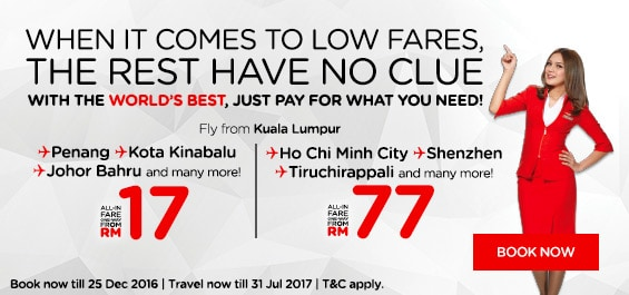 AirAsia RM17 Promotion - Year End Sales 2016/2017